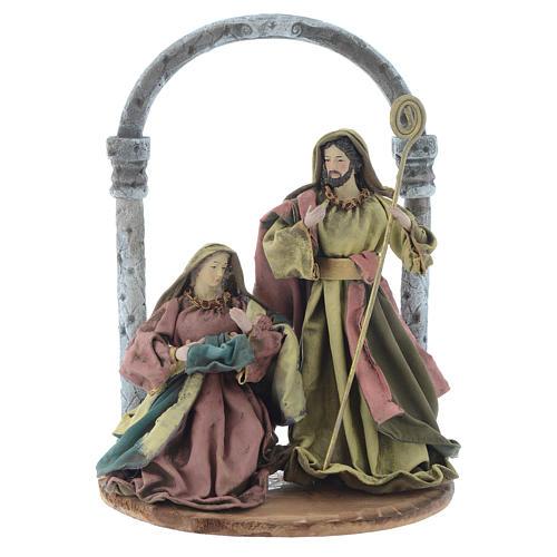 Natividad con arco 40 cm resina acabado multicolor 1