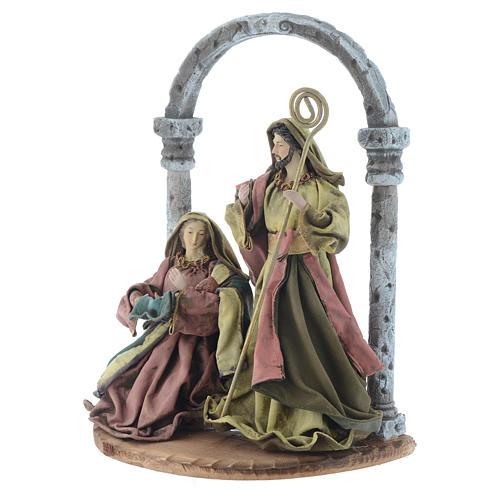 Natividad con arco 40 cm resina acabado multicolor 2