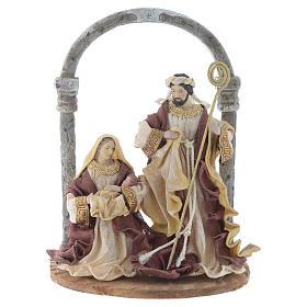 Nativité avec arc 41 cm résine crème marron s1