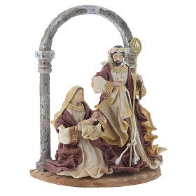 Natività con arco 41 cm resina Cream Brown s3