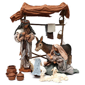 Nativity scene with animals, stable and Holy Family 30cm s1