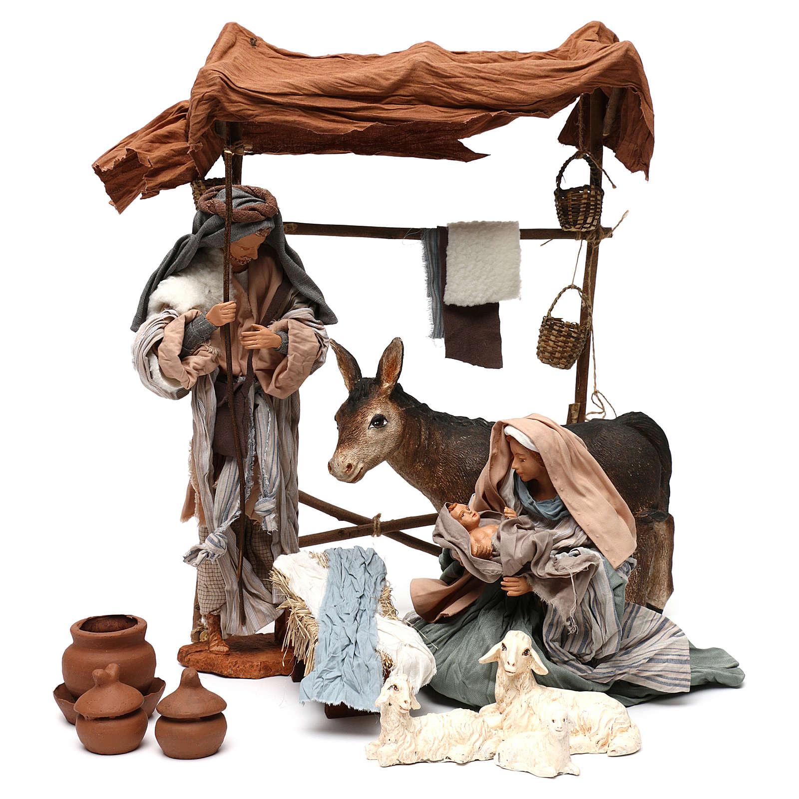 Escena Natividad con animales y toldo 30 cm 3