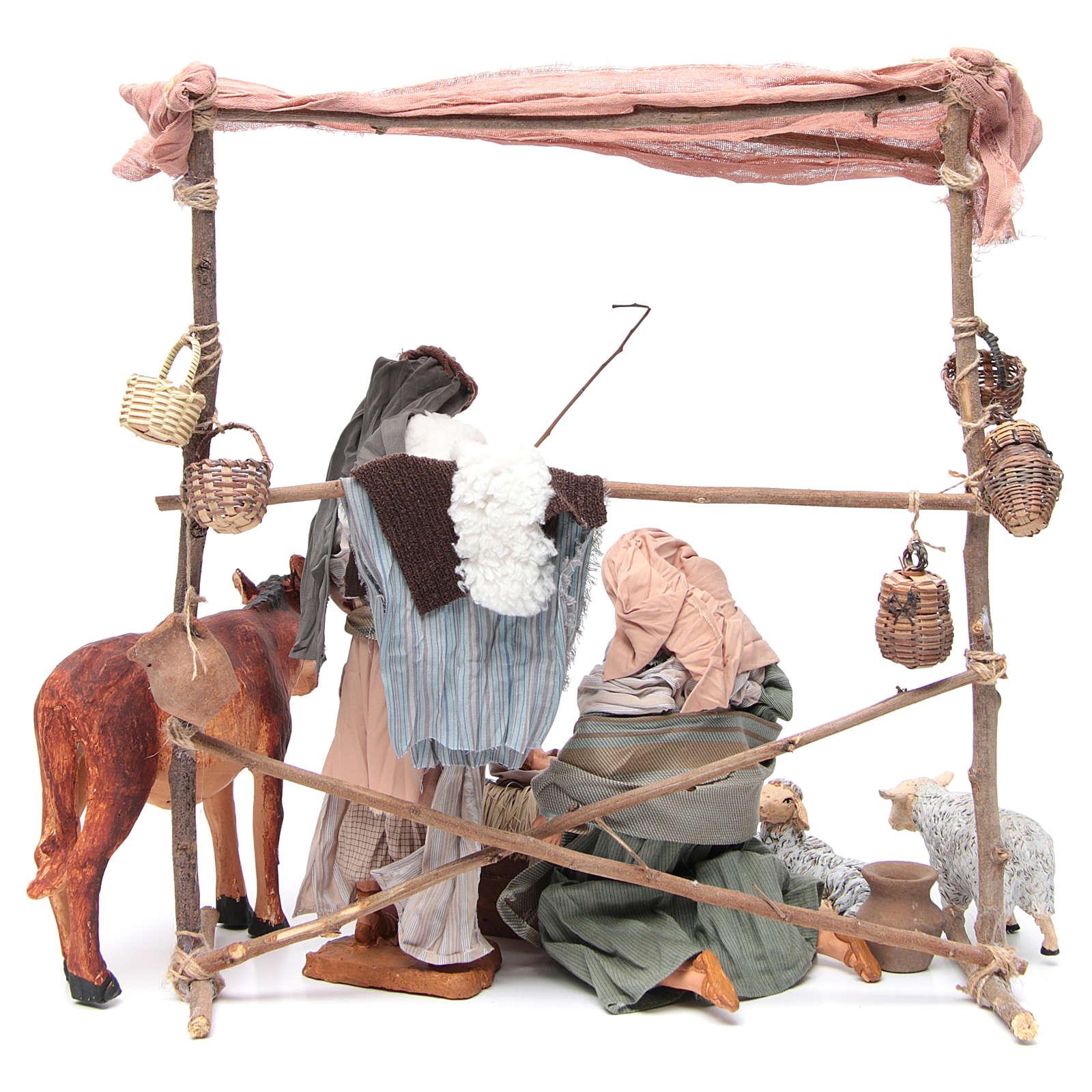 Natività scena con animali e capanna cm 30 3