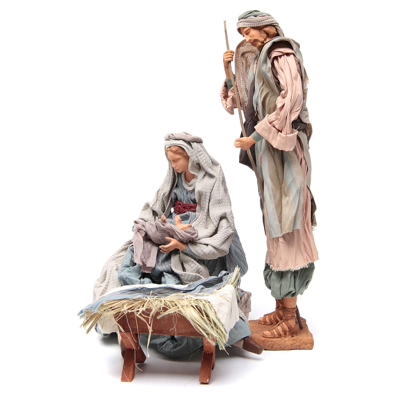 Light blue Nativity with fabric, 45cm figurines 3
