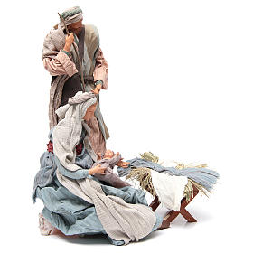 Light blue Nativity with fabric, 45cm figurines s3
