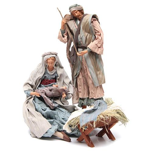 Light blue Nativity with fabric, 45cm figurines 1