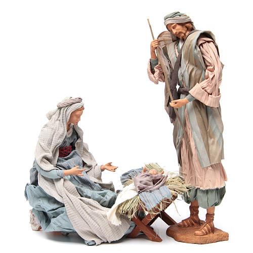 Light blue Nativity with fabric, 45cm figurines 4