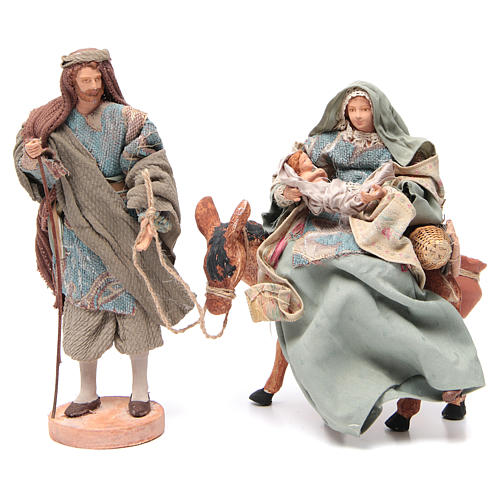 Light blue Nativity on donkey, 28cm figurines 1