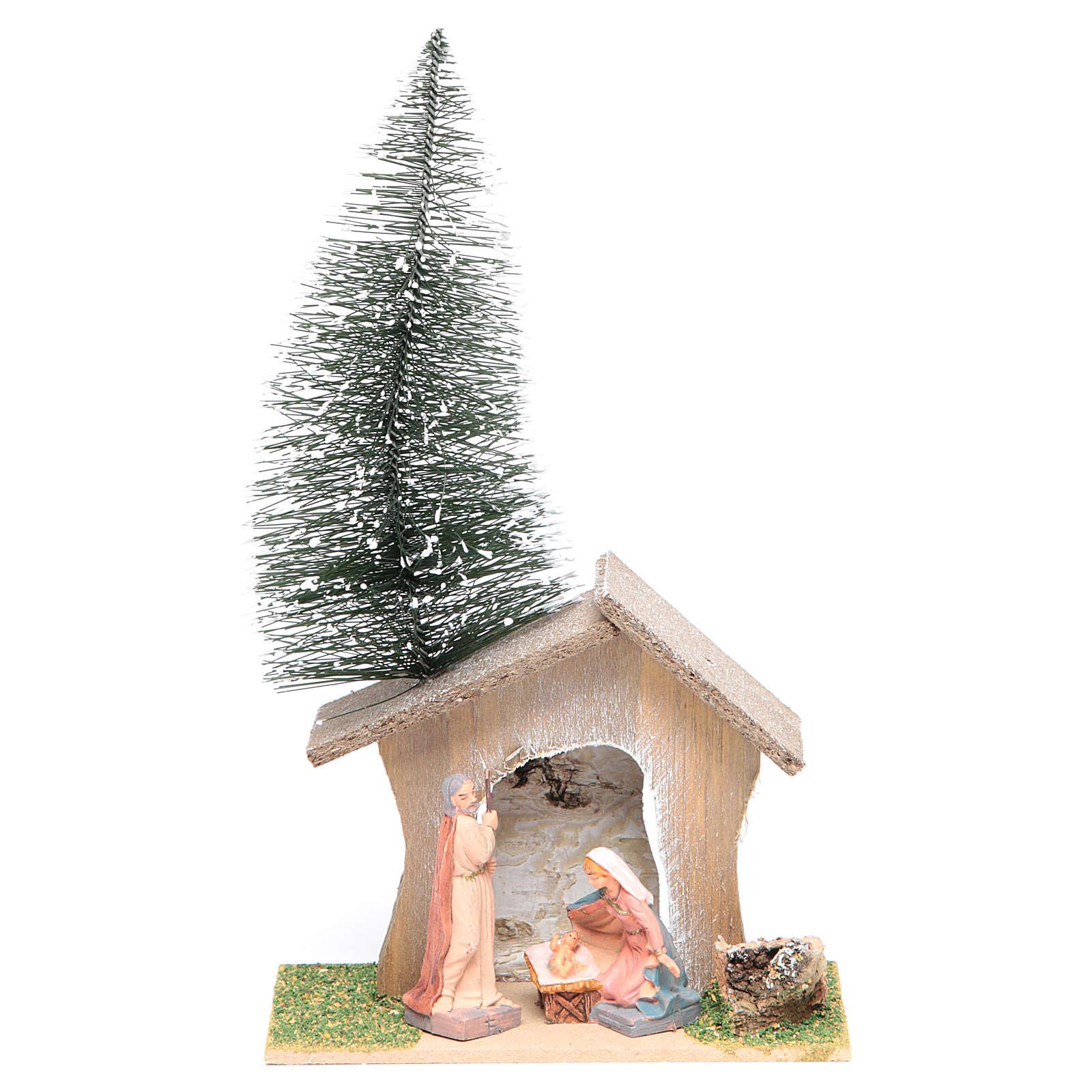 Cabane avec pin et nativité 22x13x7 cm 3