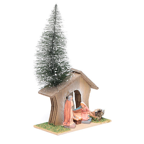 Cabane avec pin et nativité 22x13x7 cm 2