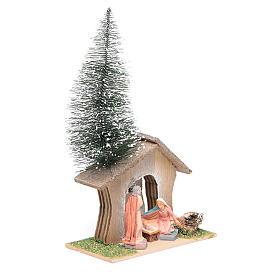 Capanna con pino e natività 22x13x7 cm s2