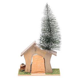 Capanna con pino e natività 22x13x7 cm s3