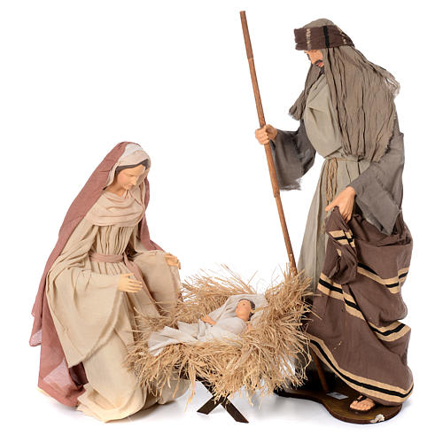 Natività stile country in garza e resina 120 cm 1