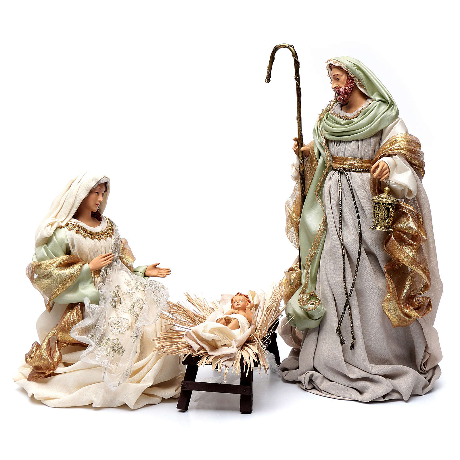 Nativity in resin and taffeta green 48 cm 3