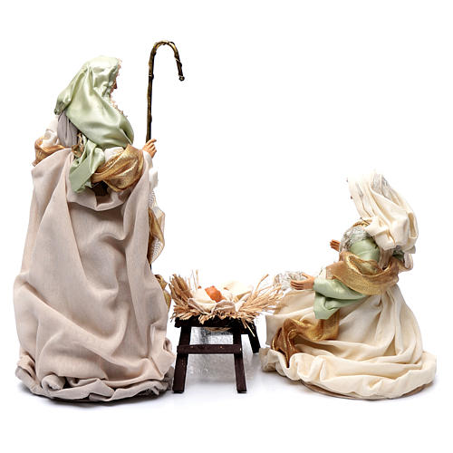 Nativity in resin and taffeta green 48 cm 4