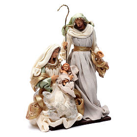 Nativity in resin and taffeta green 38 cm s3