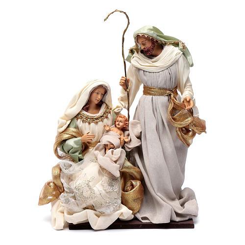 Nativity in resin and taffeta green 38 cm 1