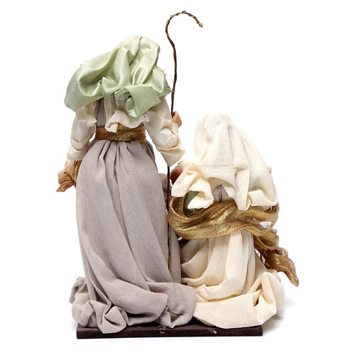 Nativity in resin and taffeta green 38 cm 4