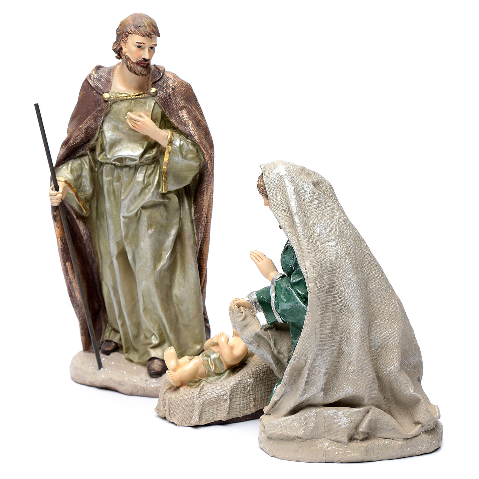 Holy family in resin 30 cm set of 3 pieces 3