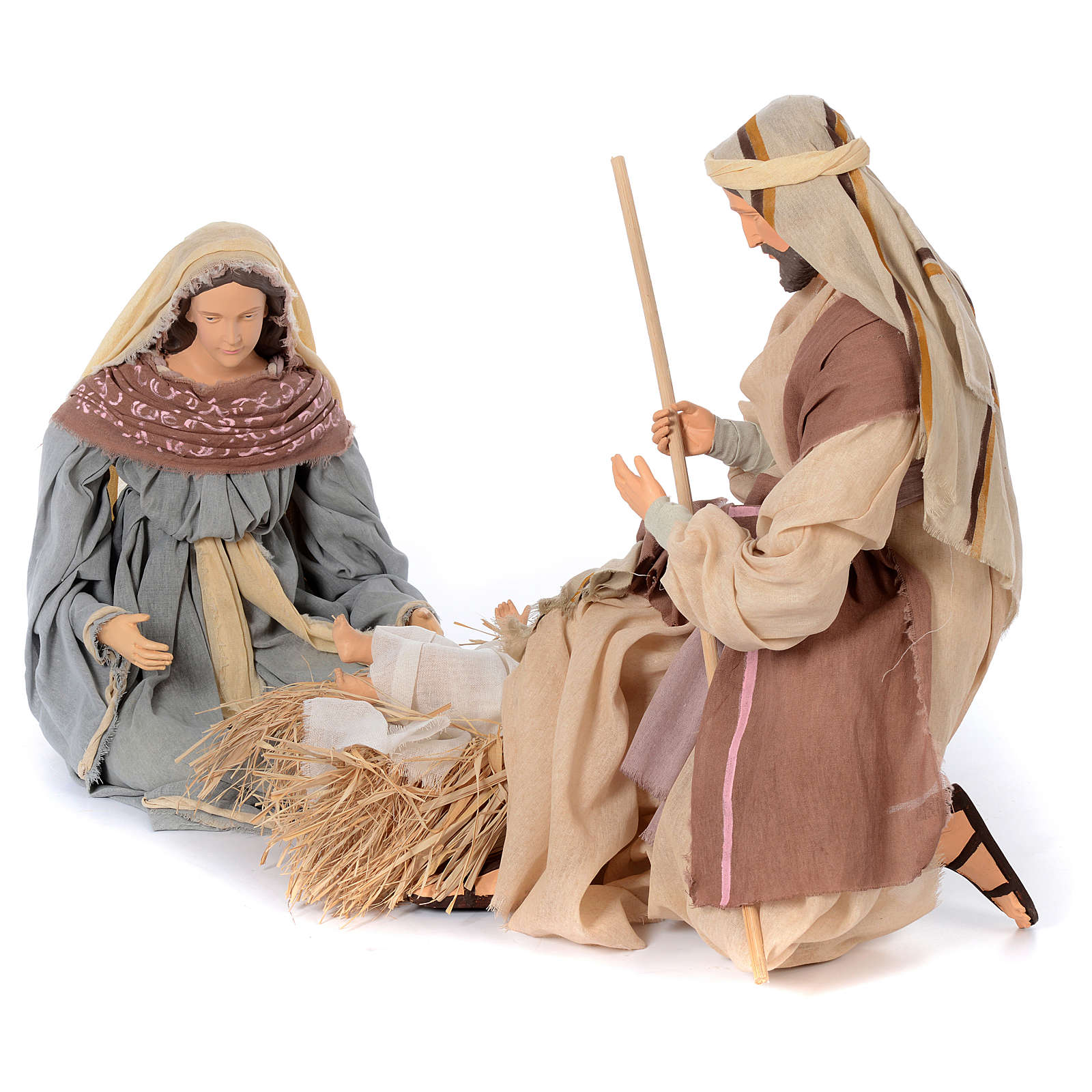 Holy family kneeling in resin 60 cm country style 3
