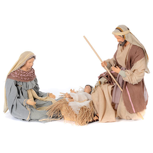 Holy family kneeling in resin 60 cm country style 1