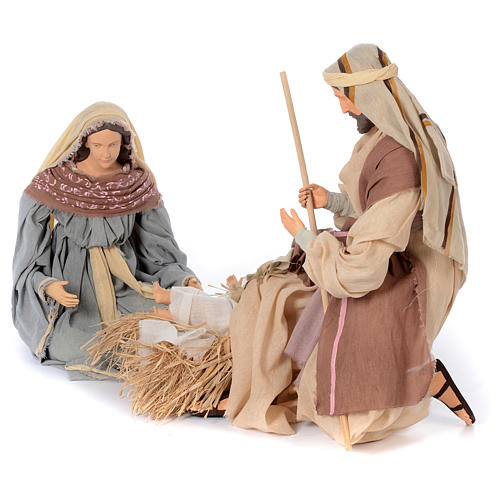 Holy family kneeling in resin 60 cm country style 2