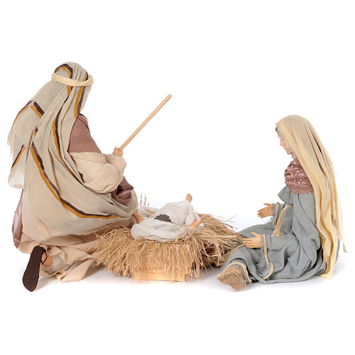 Holy family kneeling in resin 60 cm country style 4