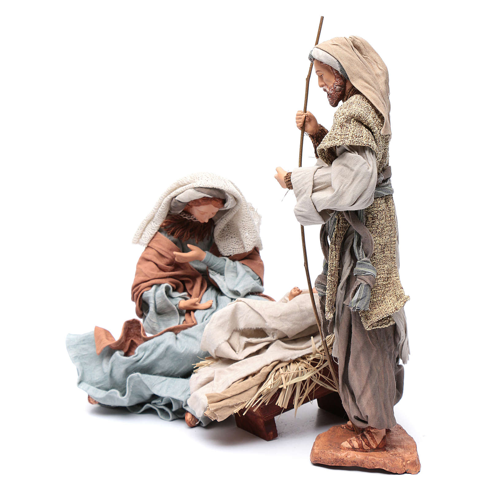 Holy family in resin and fabric 30 cm  with stool 3