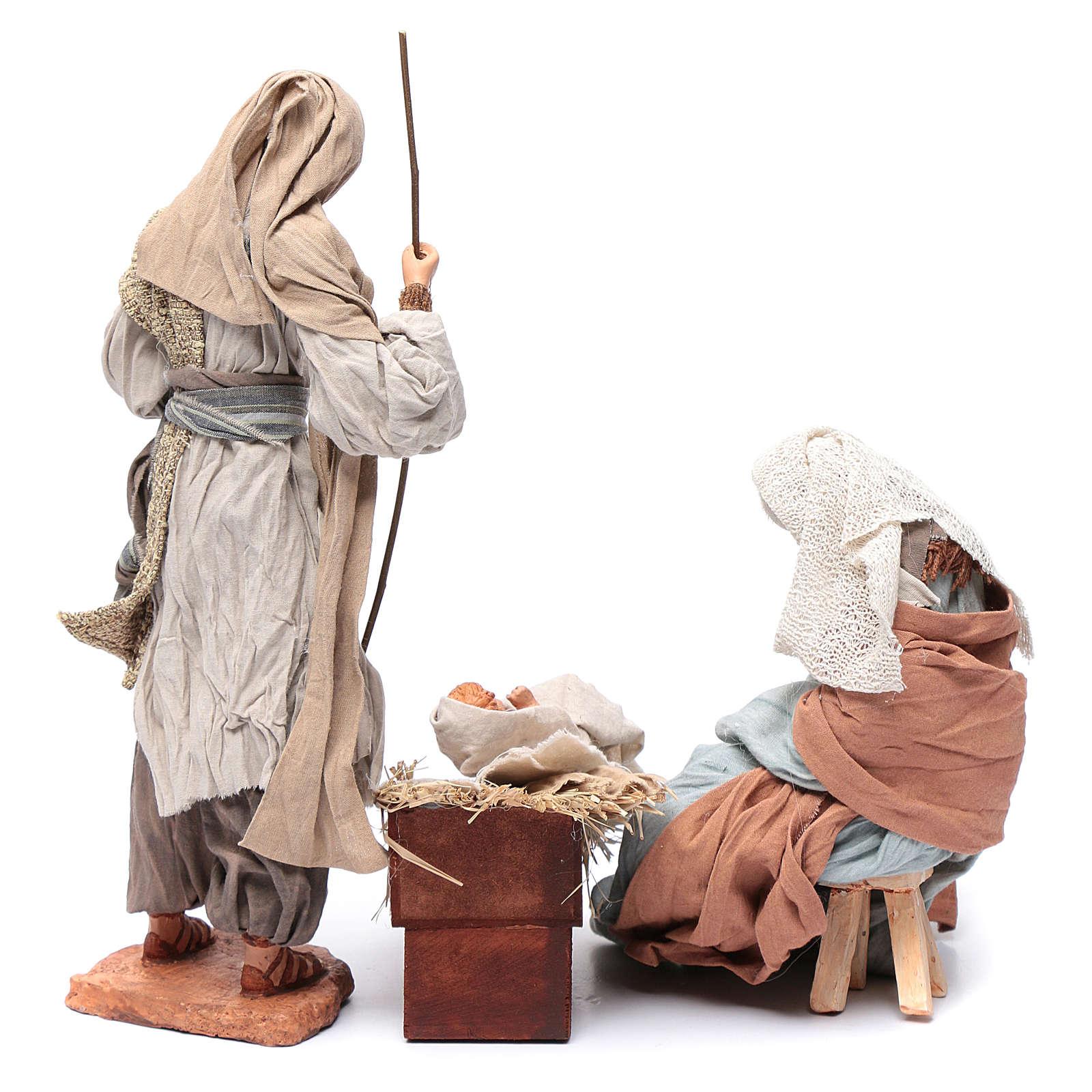Nativité 30 cm résine tissu et tabouret 3