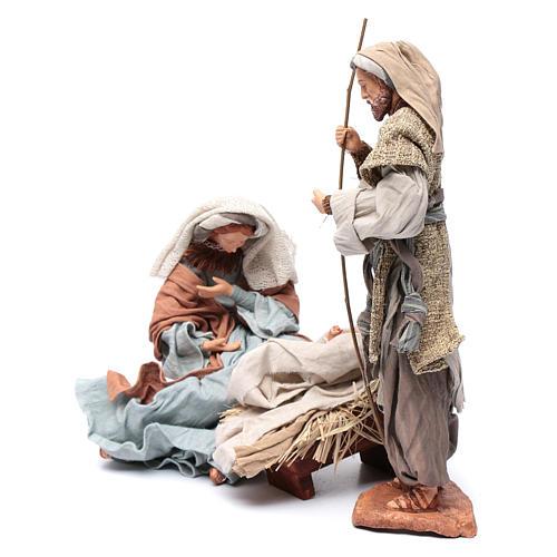 Nativité 30 cm résine tissu et tabouret 2