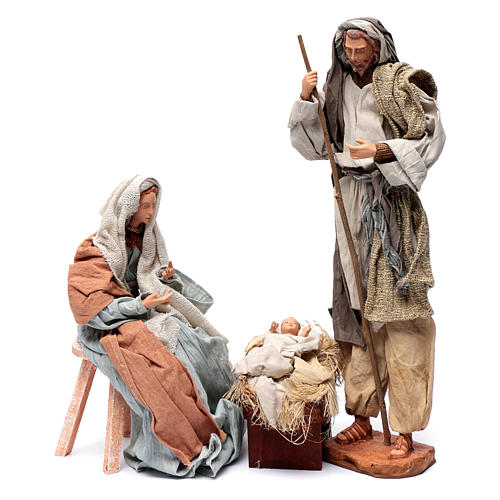 Holy family in resin with stool country style 45 cm 2