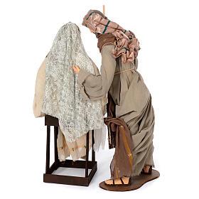 Scena Narodzin żywica 80 cm gaza koronka i krzesło s4