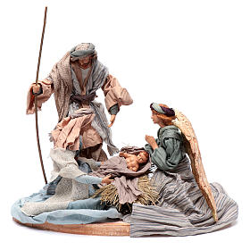Holy family in resin and fabric 30 cm with angel s1