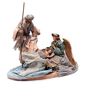 Holy family in resin and fabric 30 cm with angel s3