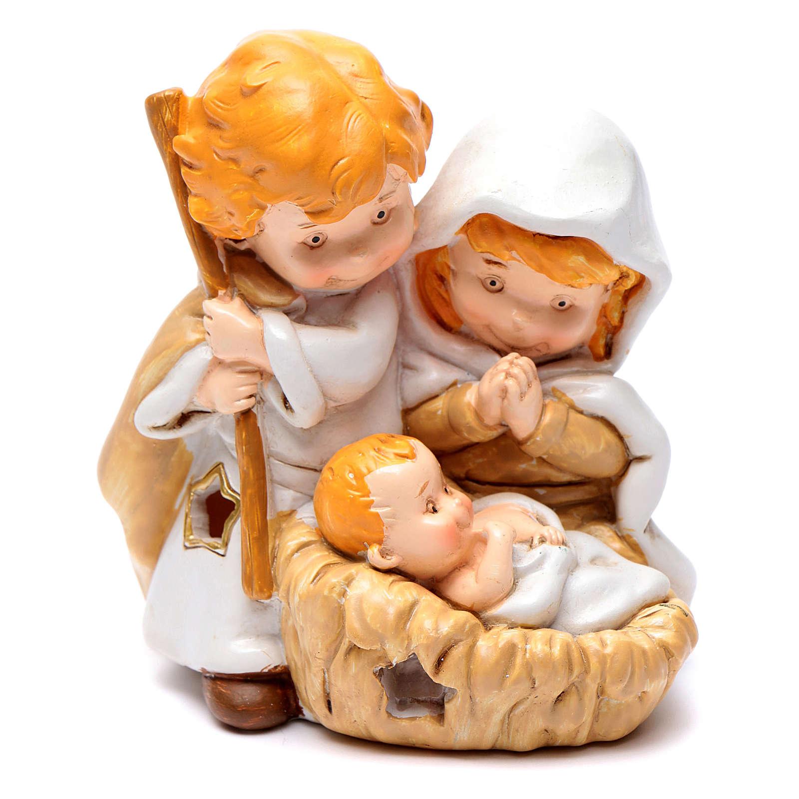 Natividade linha crianças 10 cm resina e luz 3