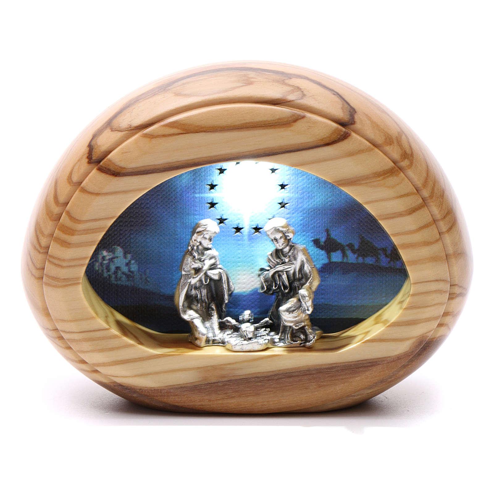 Natività con led e musica BATTERIA 8X10,5 cm 3