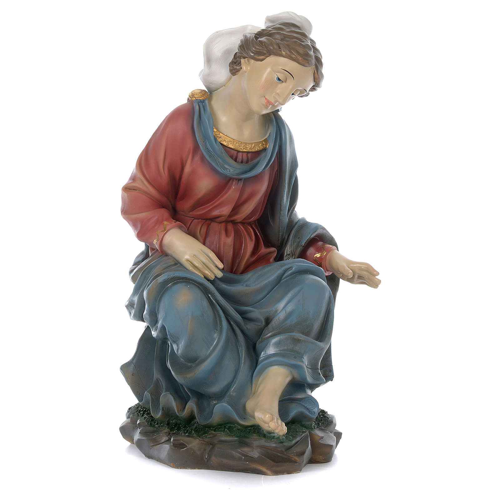Holy Family with Mary sitting in resin for 60 cm nativity scene 3