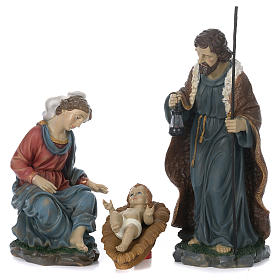 Holy Family with Mary sitting in resin for 60 cm nativity scene s1