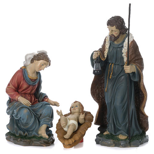 Holy Family with Mary sitting in resin for 60 cm nativity scene 1