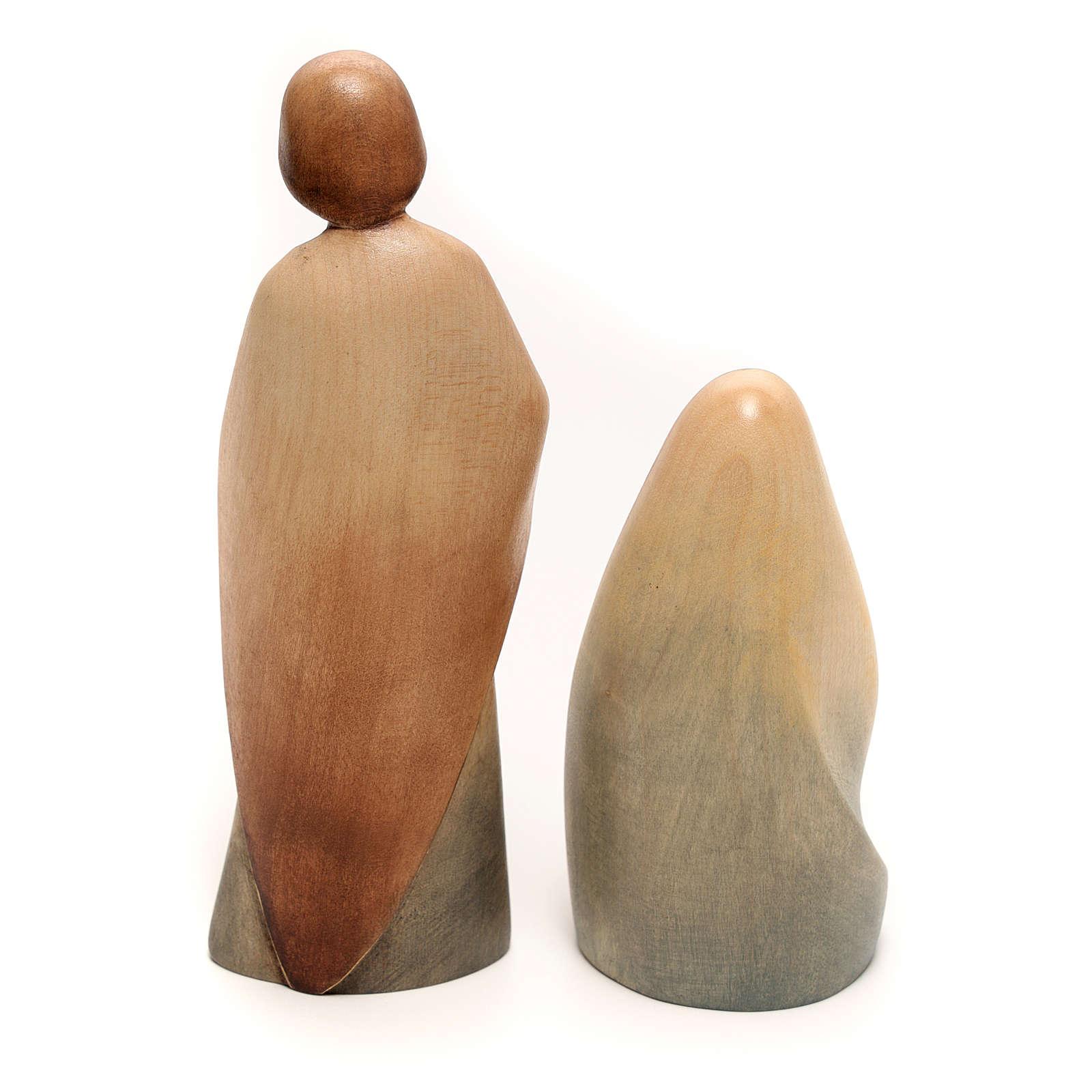 Natividad La alegría dos piezas madera arce acuarela Val Gardena 3