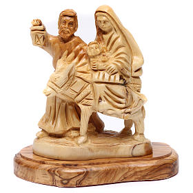 Jerusalem olive wood nativity scene: Flight into Egypt in Bethlehem olive wood 15 cm
