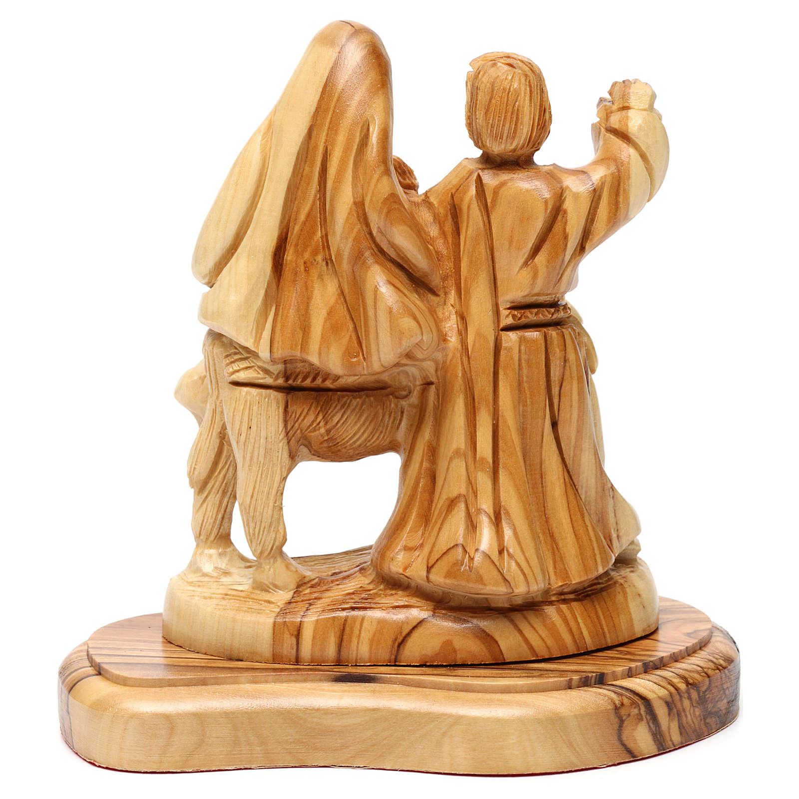 Statua Fuga in Egitto ulivo di Betlemme 15 cm 4