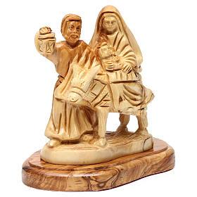 Statua Fuga in Egitto ulivo di Betlemme 15 cm s3