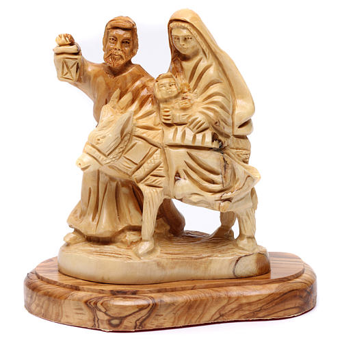 Statua Fuga in Egitto ulivo di Betlemme 15 cm 1