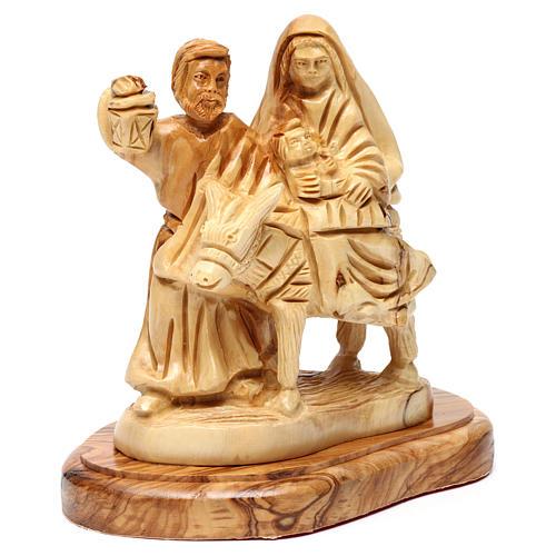 Statua Fuga in Egitto ulivo di Betlemme 15 cm 3