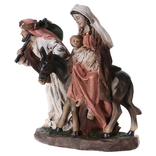Flight into Egypt in resin with base 20 cm 3
