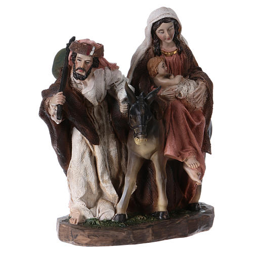 Flight into Egypt in resin with base 20 cm 4