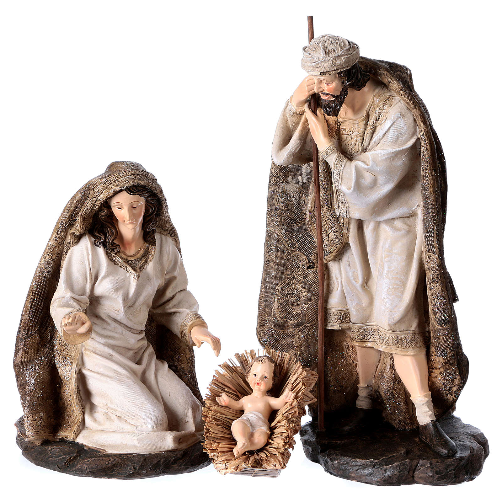 Nativity in 3 pieces, golden decorated mantles 32 cm 3