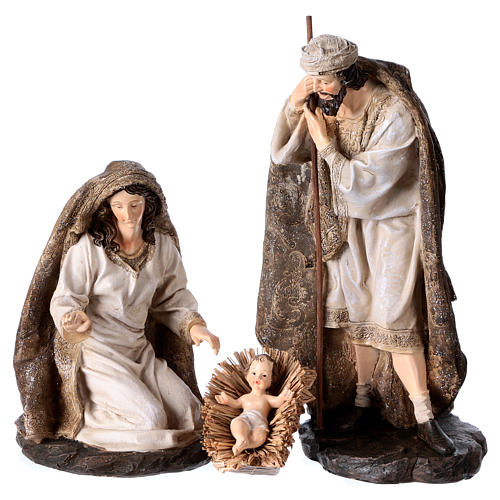 Nativity in 3 pieces, golden decorated mantles 32 cm 1