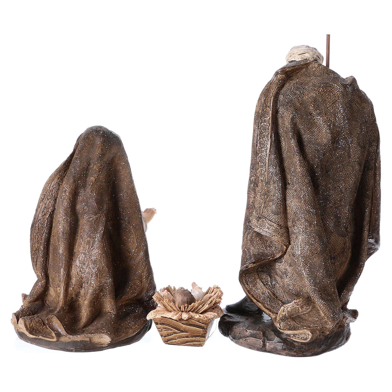 Natività di 3 pezzi 32 cm con manto color oro 3